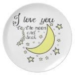 Te amo a la luna y a la parte posterior platos para fiestas