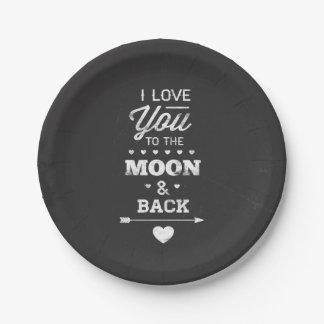 Te amo a la luna y a la parte posterior plato de papel de 7 pulgadas