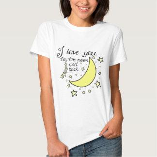 Te amo a la luna y a la parte posterior playeras