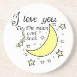 Te amo a la luna y a la parte posterior posavasos personalizados