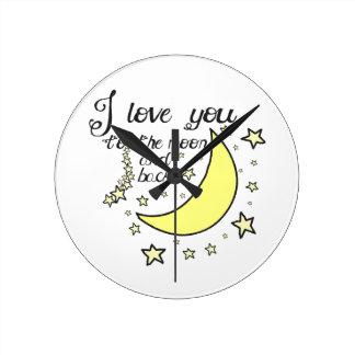 Te amo a la luna y a la parte posterior reloj redondo mediano