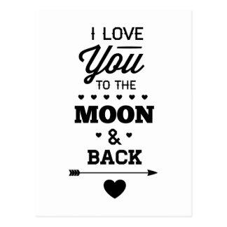 Te amo a la luna y a la parte posterior tarjeta postal