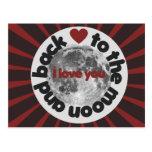 Te amo a la luna y a la parte posterior tarjetas postales