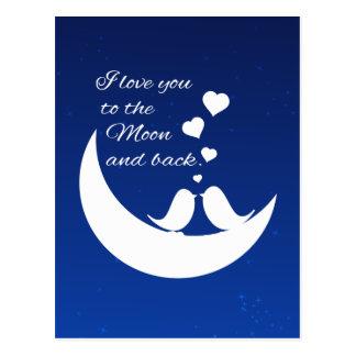 Te amo a la luna y a la parte posterior postales
