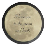 Te amo a la luna y a la placa posterior plato de cena