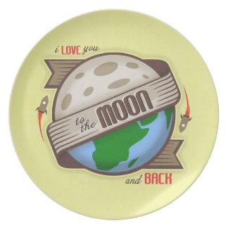 Te amo a la luna y a la placa posterior plato para fiesta