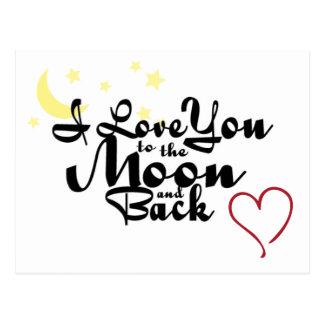 Te amo a la luna y a la postal trasera