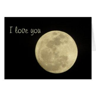 Te amo a la luna y a la tarjeta trasera