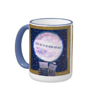 Te amo a la luna y a la taza trasera del robot