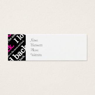Te amo a la luna y a la tipografía trasera tarjetas de visita mini