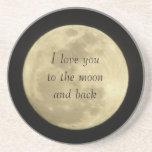 Te amo a la luna y a los prácticos de costa traser posavasos manualidades