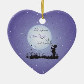 Te amo a la luna y a los regalos Detrás-Únicos Adorno De Cerámica En Forma De Corazón