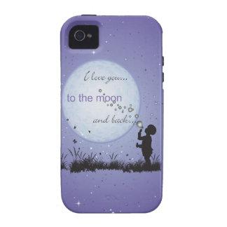 Te amo a la luna y a los regalos Detrás-Únicos iPhone 4/4S Carcasas