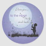Te amo a la luna y a los regalos Detrás-Únicos Pegatina Redonda