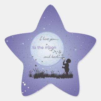 Te amo a la luna y a los regalos Detrás-Únicos Calcomanias Forma De Estrella