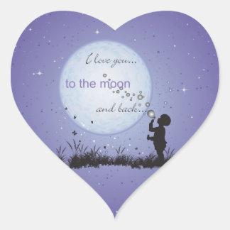 Te amo a la luna y a los regalos Detrás-Únicos Pegatina En Forma De Corazón