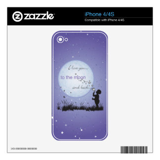 Te amo a la luna y a los regalos Detrás-Únicos Skin Para El iPhone 4