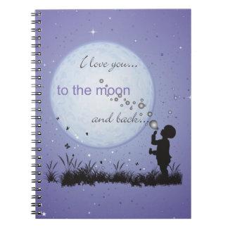 Te amo a la luna y a los regalos Detrás-Únicos Spiral Notebook