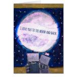 Te amo a la luna y a los robots traseros tarjeta de felicitación