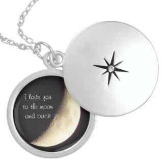 Te amo a la luna y al collar/al locket traseros pendientes
