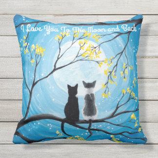 Te amo a la luna y al gato trasero cojín de exterior