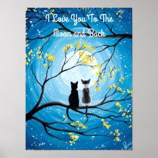 Te amo a la luna y al gato trasero póster