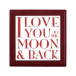 Te amo a la luna y al joyero trasero cajas de recuerdo