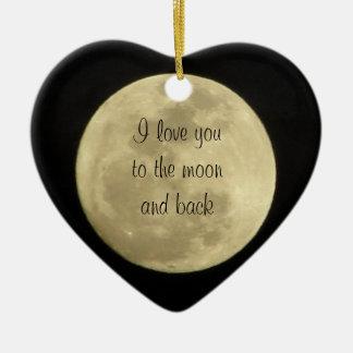 Te amo a la luna y al ornamento trasero del ornamento de navidad