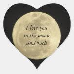 Te amo a la luna y al pegatina trasero