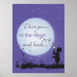 Te amo a la luna y al poster trasero
