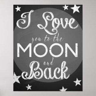 Te amo a la luna y al poster trasero de la pizarra póster