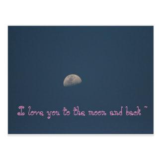 Te amo a la luna y al trasero postales