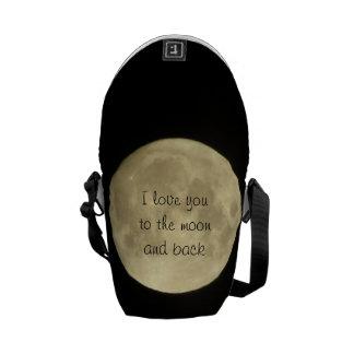 Te amo a la mini bolsa de mensajero de la luna y d bolsa messenger