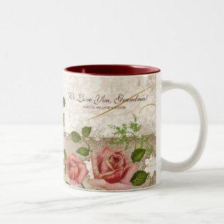 Te amo abuela taza inglesa de los rosas del vinta