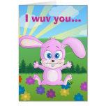 Te amo agrupa y los manojos - tarjeta del conejito