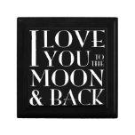 Te amo al joyero negro de la luna y de la parte po caja de joyas