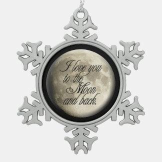 Te amo al lunar realista de la luna y de la parte adorno de peltre en forma de copo de nieve