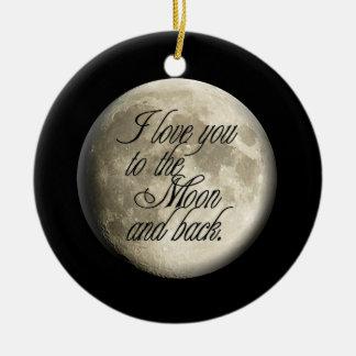 Te amo al lunar realista de la luna y de la parte adorno navideño redondo de cerámica