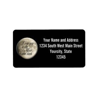 Te amo al lunar realista de la luna y de la parte etiqueta de dirección