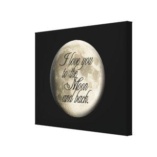 Te amo al lunar realista de la luna y de la parte impresión en lienzo
