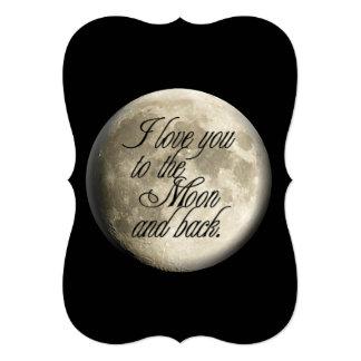 """Te amo al lunar realista de la luna y de la parte invitación 5"""" x 7"""""""