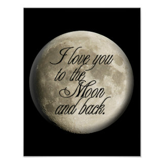 Te amo al lunar realista de la luna y de la parte  impresiones