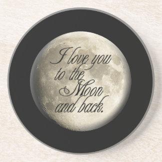 Te amo al lunar realista de la luna y de la parte  posavasos manualidades