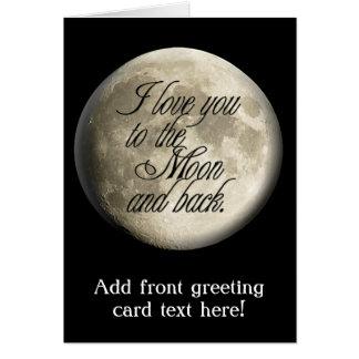 Te amo al lunar realista de la luna y de la parte tarjeta