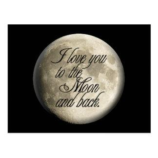 Te amo al lunar realista de la luna y de la parte tarjetas postales