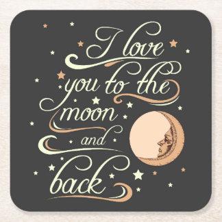 Te amo al negro de la luna y de la parte posterior posavasos desechable cuadrado