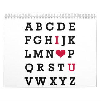 Te amo alfabeto calendarios de pared