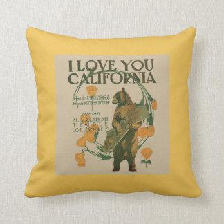 Te amo almohada de tiro del oso de California 16 x