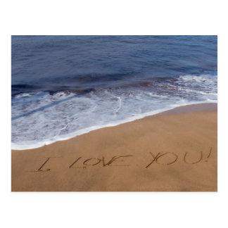 Te amo… amor de la playa tarjetas postales