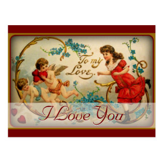 Te amo ángeles románticos del Cupid de la tarjeta  Postal